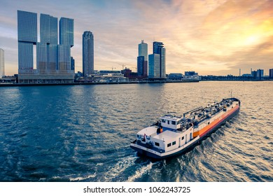 ROTTERDAM, HOLLAND - FEBRUARY 10 2018: View on the river Maas, Rotterdam. Color shift by intent