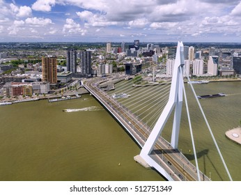 Rotterdam, Holland, June, 2015: Panorama of Rotterdam with Erasmus bridge across the Meuse river and city skyline, seen from a high rise building