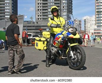 ROTTERDAM, HOLLAND - SEPTEMBER 5: Medic on motorbike at the annual World Harbor Days in Rotterdam, Holland on September 5, 2010
