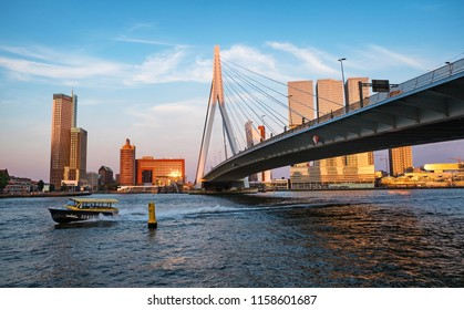 ROTTERDAM - JULY 4, 2018: view of skyline of Rotterdam city, The Netherlands on 4 July 2018. Rotterdam is Europe's biggest port city and has a population of over 600.000 people.