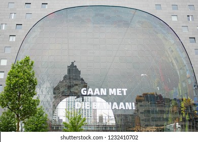 Rotterdam Market hall, Markthal in Rotterdam. Transparent unusual glass building in the Netherlands. 14 May 2018