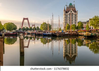 ROTTERDAM - MAY 28, 2017: Rotterdam city cityscape skyline with The Witte Huis (White House) and Willemsbrug bridge, Oude Haven, South Holland, Netherlands.
