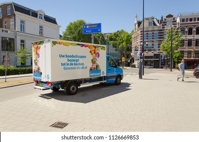 Rotterdam, Netherlands, 02-07-2018: A grocery delivery truck from the company Albert heijn is standing in the centre of Rotterdam