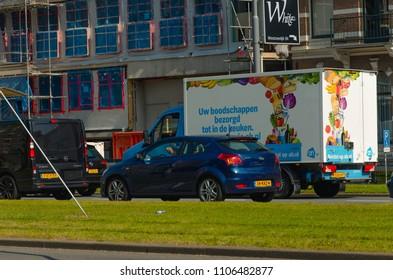 Rotterdam, Netherlands, 05-06-2018: A Albert Heijn delivery truck delivering groceries to customers