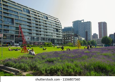 Rotterdam, Netherlands, 05-06-2018: A view at Rotterdam with on the left de markthal a famous food court