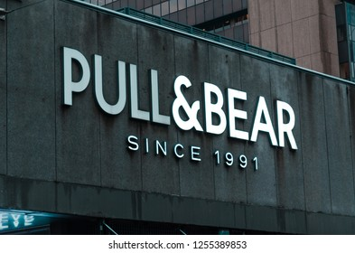 Rotterdam, Netherlands, 07-12-2018: A pull & bear sign. Pull and bear is a fashion store and multinational