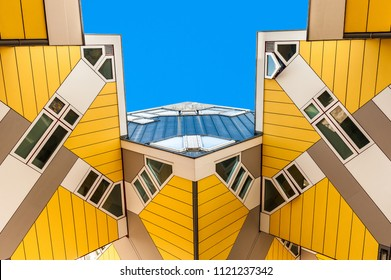 ROTTERDAM, NETHERLANDS - 21 April, 2018 : Cube houses or Kubuswoningen in Dutch are a set of innovative houses designed by architect Piet Blom and built in Rotterdam, the Netherlands.
