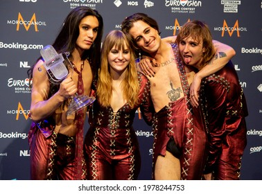 Rotterdam, Netherlands. 22th May 2021. Maneskin (Damiano David, Victoria De Angelis, Thomas Raggi, Ethan Torchio),  from Italy are the winners of the Eurovision song contest 2021