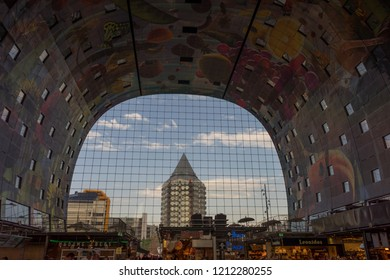 Rotterdam, Netherlands - 27 May:  The Markthal (Market Hall) is a residential and office building with a market hall, located in Rotterdam. Building was opened on October 1, 2014, by Queen Máxima