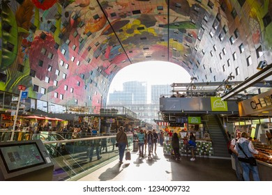 Rotterdam, Netherlands - 8 april 2018, visitors in the Markthal market