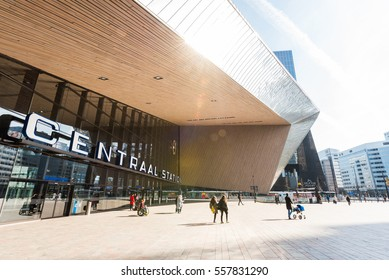 Rotterdam, Netherlands - April 01, 2016:  People walking at the Rotterdam Centraal Station on a sunny day