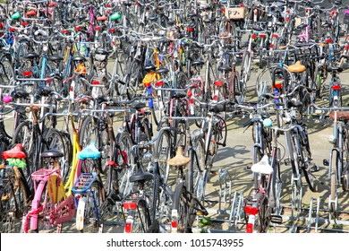 ROTTERDAM, NETHERLANDS - APRIL 1: Lots of parked bicycles in on April 1, 2014 in Rotterdam
