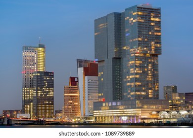 ROTTERDAM, THE NETHERLANDS – APRIL 18, 2018: Skyline of downtown of Rotterdam at dusk.