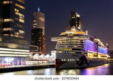 ROTTERDAM, NETHERLANDS -April 19, 2018: AIDAperla at Cruise Terminal Rotterdam. AIDAperla is the newest and most modern cruise ship of AIDA Cruises, one of ten brands owned by Carnival Corp.