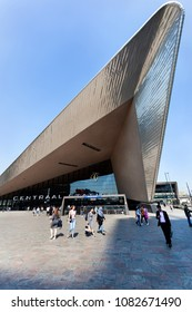Rotterdam, The Netherlands - April 20,  2018 : Central station in Rotterdam with people walking in different directions