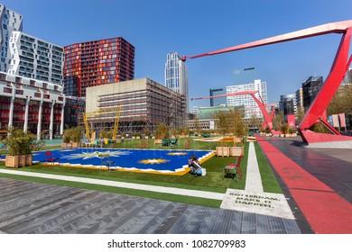 Rotterdam, The Netherlands  April 20,  2018 : Schouwburgplein with some people in Rotterdam