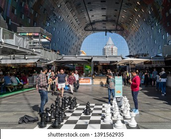 Rotterdam, The Netherlands - April 20 2019: Markthal (English: Market Hall), designed by architectural firm MVRDV, is a residential and office building with a market hall underneath, built in 2014.