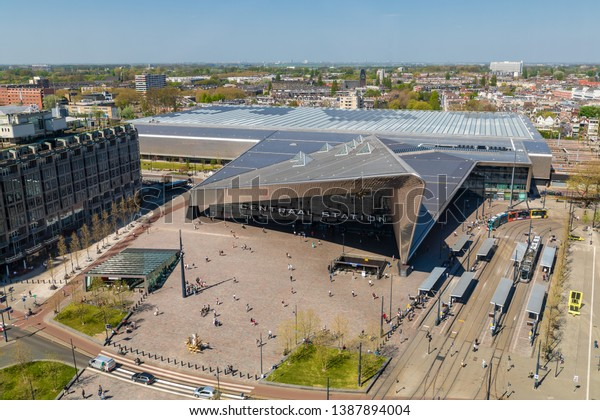 Rotterdam, The Netherlands - April 20 2019: Rotterdam Centraal, the main railway station of the city, opened in 2014. Architects: Benthem Crouwel and Meyer en Van Schooten
