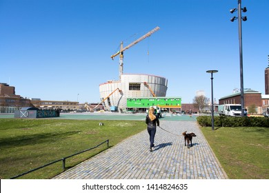 Rotterdam, The Netherlands - April 2019. View of the Boijmans van Beuningen art depot, currently under construction. The depot will be publicly accessible, the first public art depot in the world.
