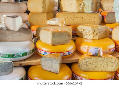 Rotterdam, Netherlands - April 26, 2017: Cheese shop on market Markthal in Rotterdam.