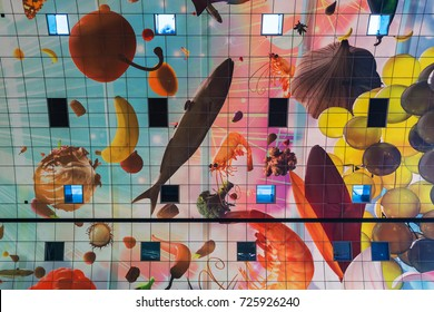 Rotterdam, Netherlands - April 26, 2017: Design of market Markthal in Rotterdam.