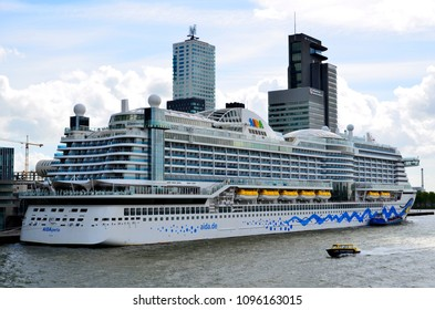 ROTTERDAM , Netherlands - April 26, 2018:AIDAperla at Cruise Terminal Rotterdam. AIDAperla is the newest and most modern cruise ship of AIDA Cruises, one of ten brands owned by Carnival Corp.