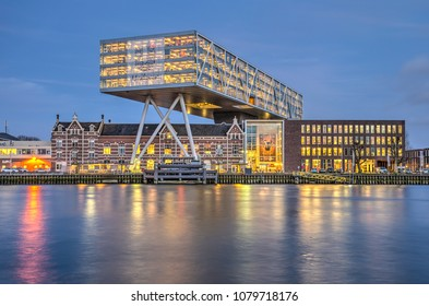 Rotterdam, The Netherlands, April 5, 2017: Early evening view of Unilever office The Bridge in Feijenoord neighbourhood in Rotterdam