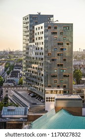 Rotterdam, The Netherlands, August 31, 2018: view of the Karel Doorman residential building, architect Van Tilburg and Partners, with its wood construction and glass facade.