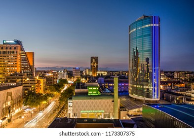 Rotterdam, The Netherlands, August 31, 2018: aerial view of Beurs world trade center and Coolsingel boulevard during the blue hour