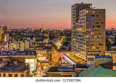 Rotterdam, The Netherlands, August 31, 2018: aerial view of the Karel Doorman residential complex and adjacent buildings shortly after sunset