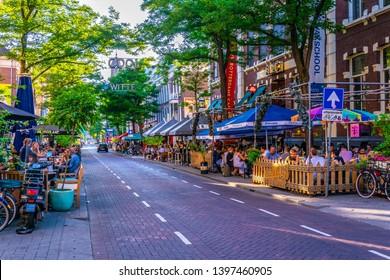 ROTTERDAM, NETHERLANDS, AUGUST 5, 2018: Sunset view of Witte de Whitstraat street in Rotterdam, Netherlands