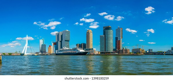 ROTTERDAM, NETHERLANDS, AUGUST 5, 2018: Holland america line and other skyscrapers in Rotterdam, Netherlands