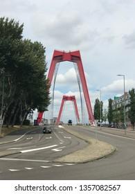 Rotterdam, the Netherlands - August 7, 2018: Bridge willemsbrug in Rotterdam on August 7, 2018 in Rotterdam, the Netherland