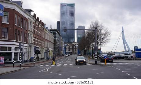 ROTTERDAM, NETHERLANDS - DECEMBER 11, 2016: Koningshaven area of Rotterdam