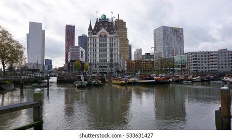 ROTTERDAM, NETHERLANDS - DECEMBER 11, 2016: Oudehaven (The old-port) area, one of the oldest area in Rotterdam