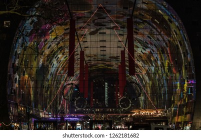 ROTTERDAM, THE NETHERLANDS - DECEMBER 12: Markthal on December 12, 2018 in Rotterdam. The Markthal (English: Market Hall) With this years Christmas Decoration.