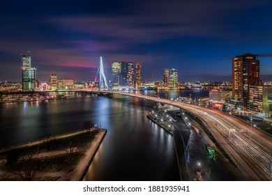Rotterdam, The Netherlands - December 17, 2020: City Scape, Rotterdam at Night and Kop van Zuid