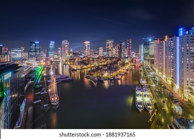Rotterdam, The Netherlands - December 17, 2020: City Scape, Rotterdam, Leuvehaven at Night