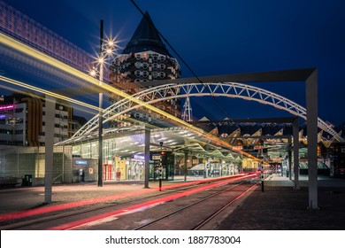 Rotterdam, The Netherlands - December 17, 2020: City Scape, Rotterdam at Night and De Blaak