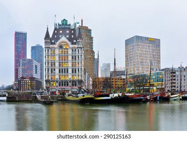 Rotterdam, The Netherlands - December 5, 2014: Rotterdam cityscape, a city defined by modern architecture, with very few old parts, like Oude Haven.