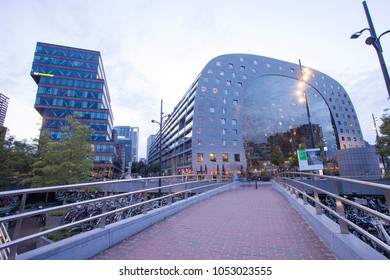Rotterdam, Netherlands, Europe, Spetember 17, 2017. The Markthal is a residential and office building with market hall underneath, located in Rotterdam. The building was opened on October 1, 2014.