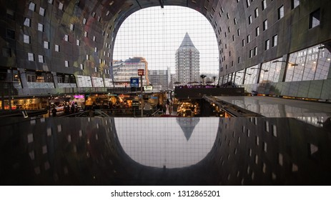 Rotterdam, the Netherlands - February 1, 2019: Interior of the Markthal.  The Market Hall (Markthal) is opened in 2014 and is considered one of the famous Rotterdam landmarks.