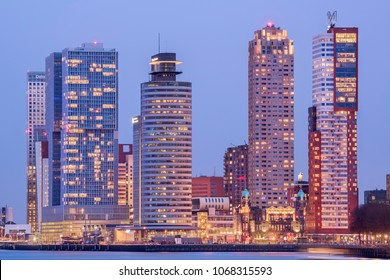 ROTTERDAM, THE NETHERLANDS - FEBRUARY 10, 2018: The skyline of downtown Rotterdam at night.