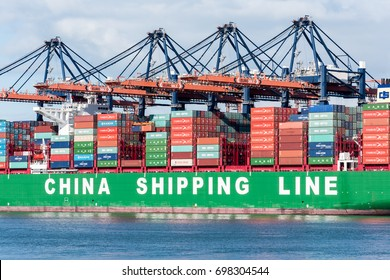 ROTTERDAM, THE NETHERLANDS - FEBRUARY 15, 2016: The ultra large container ship CSCL Indian Ocean of the China Shipping Line moored at the Euromax Terminal in the Port of Rotterdam, The Netherlands.