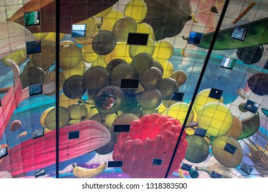 ROTTERDAM, NETHERLANDS - FEBRUARY 15, 2019: Detail of the decorated walls of the Markthal Rotterdam covered market located in the center of the city