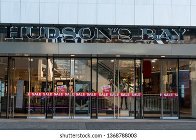 Rotterdam, The Netherlands - February 16, 2019: Entrance of a store called Hudson's Bay. The Hudson's Bay Company is a Canadian retail business group.