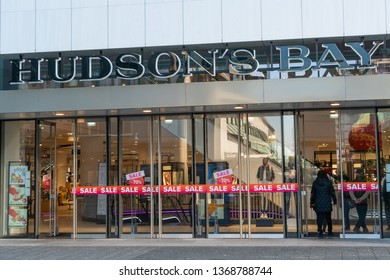 Rotterdam, The Netherlands - February 16, 2019: People entering a store called Hudson's Bay. The Hudson's Bay Company is a Canadian retail business group.