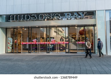 Rotterdam, The Netherlands - February 16, 2019: People entering a store called Hudson's Bay.The Hudson's Bay Company is a Canadian retail business group.