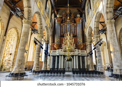 ROTTERDAM, THE NETHERLANDS - FEBRUARY 23, 2018: Interior of St. Lawrence Church (Grote of Sint-Laurenskerk, 1449 - 1525) - Protestant church in the town centre of Rotterdam.