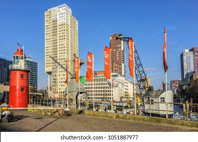 ROTTERDAM, THE NETHERLANDS - FEBRUARY 23, 2018. Maritime Museum at Maritime District of Rotterdam. Maritime Museum Harbour contains collection of historic vessels, cranes and old Lighthouse.
